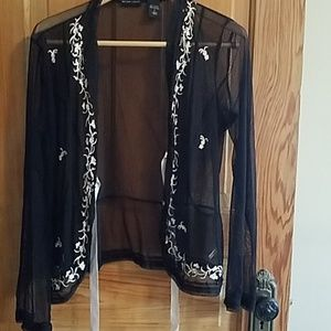 New York & Company large black sheer blouse